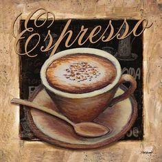 Espresso Canvas Art - Todd Williams x Vintage Cafe, Vintage Tea, Cafe Logo, Birch Tree Art, Coffee Painting, Coffee Artwork, Decoupage Vintage, Coffee Design, Letter Art