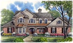 Country Style House Plans - 4461 Square Foot Home , 2 Story, 4 Bedroom and 5 Bath, 3 Garage Stalls by Monster House Plans - Plan 62-338