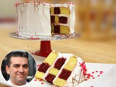 Buddy Valastro's Red Velvet and Vanilla Checkerboard Cake with Cream Cheese Frosting