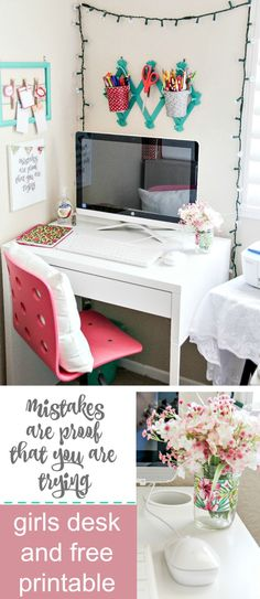 How to create a homework station for a little girl including free inspirational printable and easy tape crafts. #BTSwithHP AD