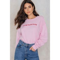 The Ragged Priest Average Tee ($37) ❤ liked on Polyvore featuring tops, t-shirts, light pink, pink tee, print t shirts, long pink t shirt, long-sleeve crop tops and long sleeve tops