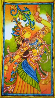 Kerala Mural Painting, Madhubani Painting, Stencil Art, Stencils, Hand Painted Sarees, Indian Folk Art, Murals, Tutorials, Paintings