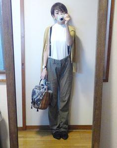 モコーデ: サスペンダーで蘇る古いお洋服コーデ 9月8日