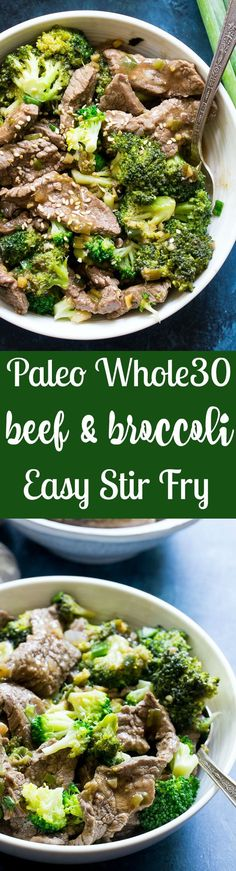 This Paleo and Whole30 Beef & Broccoli stir fry is perfect for weeknight dinners! Thinly sliced flank steak in a sesame garlic sauce with crisp tender broccoli that's ready in 30 minutes. You can serve this alone or over cauliflower rice and it's soooo yummy!  Gluten free, paleo, low carb, Whole30 compliant and kid approved!