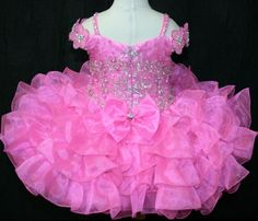 Pink Infants Cupcake Flower Dresses Crystals Short Little Girl's Beauty Pageant #Unbranded #DressyHolidayPageantWedding