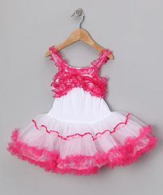 White & Hot Pink Ribbon Ruffle Dress - Infant, Toddler & Girls by Seesaws & Slides on #zulily today!