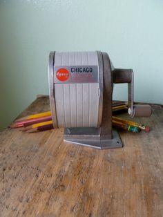 Vintage Apsco Chicago Pencil Sharpener, Made in USA, Mid Century Industrial Office Supplies,