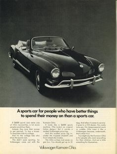 Volkswagen Karmann Ghia advertisement.