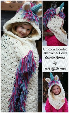 Bulky & Quick Unicorn hooded blanket and cowl pattern!  Beginner friendly design!