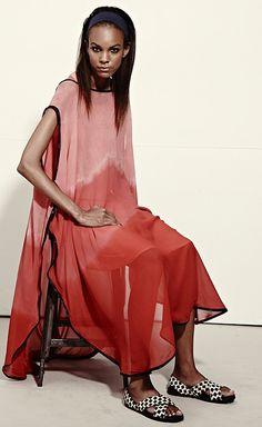 Studio 189 Pink Gradient-Print Silk Hand-Batik Caftan