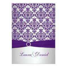 Purple Damask and Silver Wedding Invitation