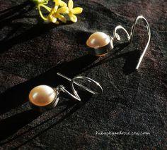 Spiral Pearl Drop Earrings White Pearl Earring by HiBackyardRose