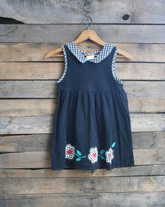 Vintage Children's Black Floral & Gingham Dress by vintapod