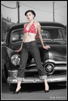 ( 2016 ) - HOT ROD and THE BEAUTIFUL PIN-UP GIRL...Black & White with Hues 2016. -