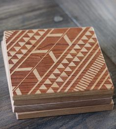 Modern Tribal Wooden Engraved Coasters - Set of 4,  Richwood Creations » Loving these!