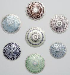 Jasmine Watson_Untitled Brooches, 'Mandalam Series', silver, champlevé enamel