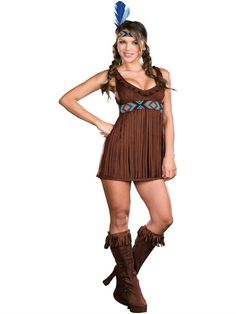 Women's Indian Princess Halloween Costume. Tribal Trouble Indian Adult Costume available at Teezerscostumes.com, PIN10 for 10% off
