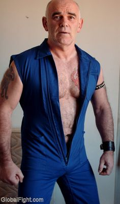 a older man wearing blue coveralls free gay gallery