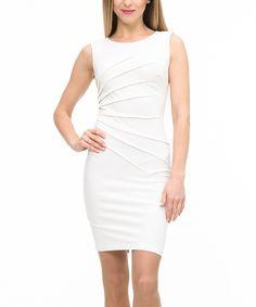 Look what I found on #zulily! ZEAN White Ruched Sleeveless Dress by ZEAN #zulilyfinds