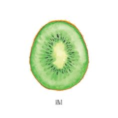 Kiwi Watercolor Painting Food Illustration Arte de by KariSketches