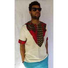 Men's Casual Kente Inspired Cotton Shirt
