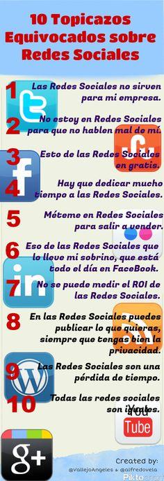 10 topicazos equivocados sobre Redes Sociales #infografia #infographic#socialmedia