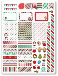 Kawaii Christmas Decorating Kit PDF PRINTABLE Planner Stickers