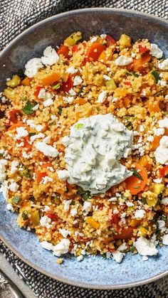 "The post ""Colorful Couscous Vegetable Pan with Pasta Cheese, Spring Onion Yoghurt and Paprika. Couscous / vegetables / shepherds cheese / peppers / moroccan / cooking / eating / nutrition / yummy / cooking box / ingredient & appeared first on Pink Unicorn Veggie Recipes, Vegetarian Recipes, Dinner Recipes, Healthy Recipes, Dinner Ideas, Healthy Food, Cooking Box, Cooking Recipes, Hello Fresh Recipes"