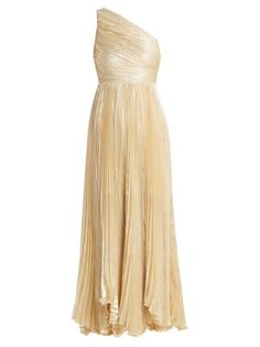 Atheer one-shoulder pleated silk-blend gown | Maria Lucia Hohan | MATCHESFASHION.COM US