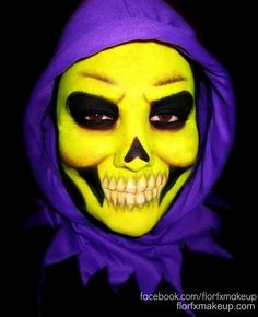 "THIS TOTALLY AND COMPLETELY RULES! Flor covered her face in Sugarpill Buttercupcake to become the one and only Skeletor.     ""Tell me about the loneliness of good, He-Man. Is it equal to the loneliness of evil?"""