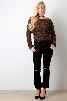 Distressed Knee Frayed Hem Flare Jeans