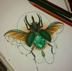 In search of some unique and daring tattoo designs, then surely go for beetle tattoo designs and mark a style statement on others. Tattoos Motive, Time Tattoos, Body Art Tattoos, Tattos, Traditional Ink, Neo Traditional Tattoo, Kunst Tattoos, Tattoo Drawings, Scarab Beetle Tattoo