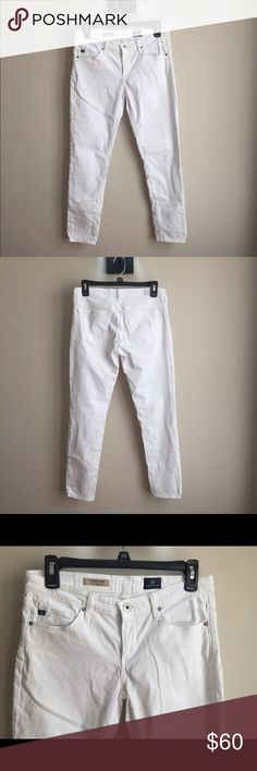 """AG """"the Stevie ankle"""" This is a reposh. In like new condition. They are not what I had expected. Bright white, no tears, stains, holes ect. They are not denim but a velvet like texture. Perfect for spring, summer and going into fall. AG Adriano Goldschmied Jeans Skinny"""
