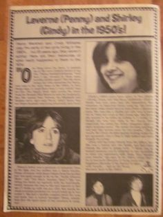 Laverne and Shirley, Cindy Williams, Penny Marshall, Full Page Vintage Clipping