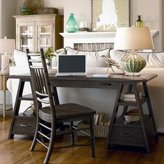 Have to have it. Paula Deen Down Home Saw Horse Work Table - Molasses - $1110 @hayneedle.com  great idea for a small space to set a desk up