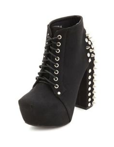 spike-back lace-up bootie