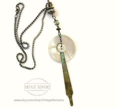 Vintage Button and Altered Clock Hand Necklace by Vintage Remains