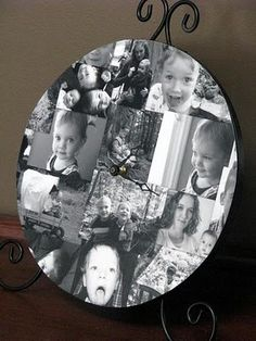 Photo Collage Clock How cute would this be with pictures on a plate and no clock, good way to show off pics or give as a gift