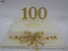 Celebration tribute for someone who has 100 years under their belt. An ivory icing covered cake with neutral colours stars, trimmed in gold with large gold glitter vertical 100 numerals and gold spotty ribbon and bow 70th Birthday Cake, Birthday Sheet Cakes, Birthday Parties, Birthday Celebrations, Birthday Ideas, White Flower Centerpieces, Banquet Centerpieces, Cake Business, Cake Cover
