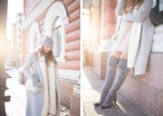 winter outfit stuart weitzmann over the knee boots fluff bag charm balmuir samsoe & samsoe nor dress