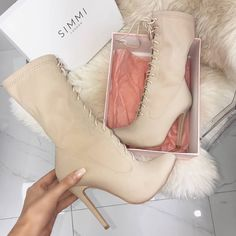 Celia Taupe Lycra Lace Up Pointed Ankle Boots Shoes Heels Boots, Heeled Boots, Bootie Boots, Ankle Shoes, Dream Shoes, Crazy Shoes, Pretty Shoes, Beautiful Shoes, Fashion Heels