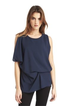 Kenneth Cole Crepe de Chine Draped Blouse