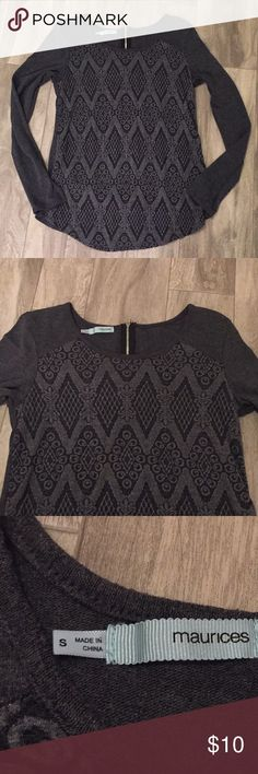 Charcoal gray sweater Size small. Cute design in front. Thin sweater material. 1/4 zipper in back. Great condition. Bundle with any other item in my closet and save 20%! Maurices Tops