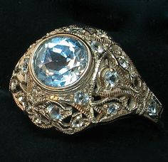 14k Art Deco Aquamarine Diamond Ring - Incredibly Beautiful!
