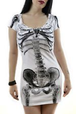 Kreepsville 666 White dress with black skeleton gothic punk grunge Halloween