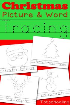 Free Christmas themed picture and word tracing sheets including Santa Claus, Christmas tree, Rudolph and more. Great for handwriting and fine motor skills!