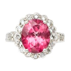 Eternally Yours Pink Tourmaline Diamond Ring | From a unique collection of vintage cocktail rings at https://www.1stdibs.com/jewelry/rings/cocktail-rings/