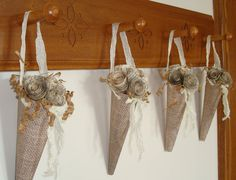 Burlap  Paper Cones with Vintage Dictionary Page Roses (set of 4) from TapersnPetals on Etsy.com $15.95