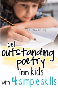 Teach poetry writing to kids in elementary schools with these four easy skills poetry literacy teachingwriting 462111611764778694 Teaching Poetry, Writing Poetry, Kids Writing, Teaching Writing, Writing Skills, Writing Activities, Teaching Kids, Writing Workshop, Writing Ideas