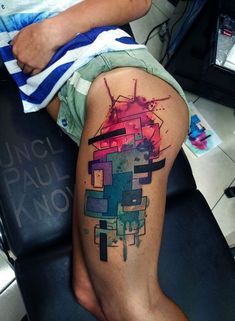 Abstract Watercolor Thigh Piece http://tattooideas247.com/abstract-shapes/